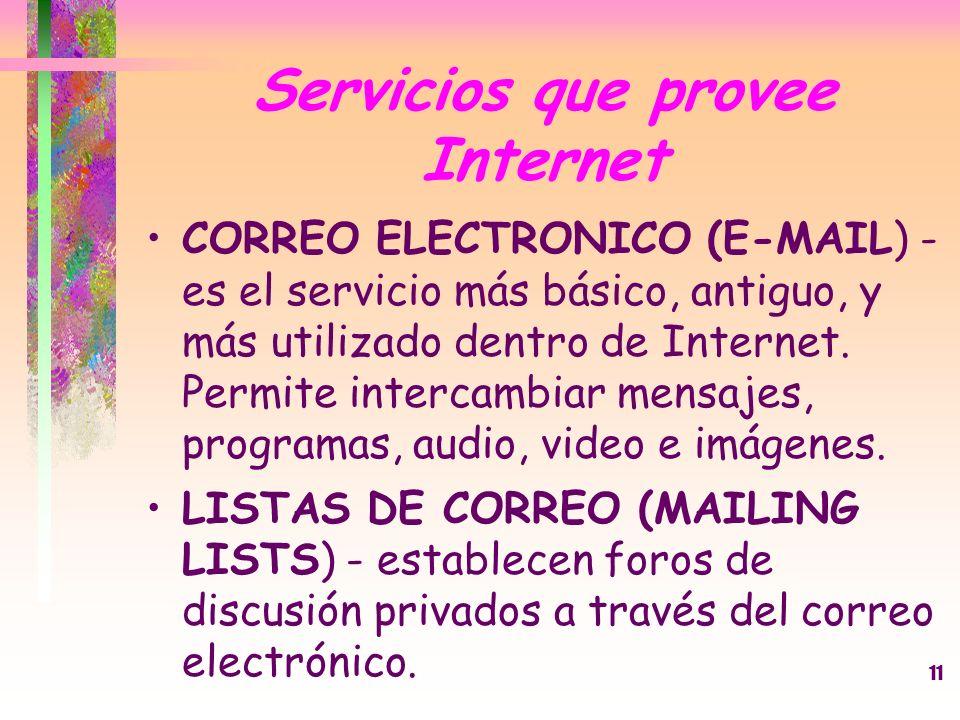 11 Servicios que provee Internet CORREO ELECTRONICO (E-MAIL) - es el servicio más básico, antiguo, y más utilizado dentro de Internet. Permite interca