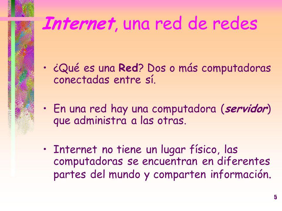 5 Internet, una red de redes ¿Qué es una Red? Dos o más computadoras conectadas entre sí. En una red hay una computadora (servidor) que administra a l