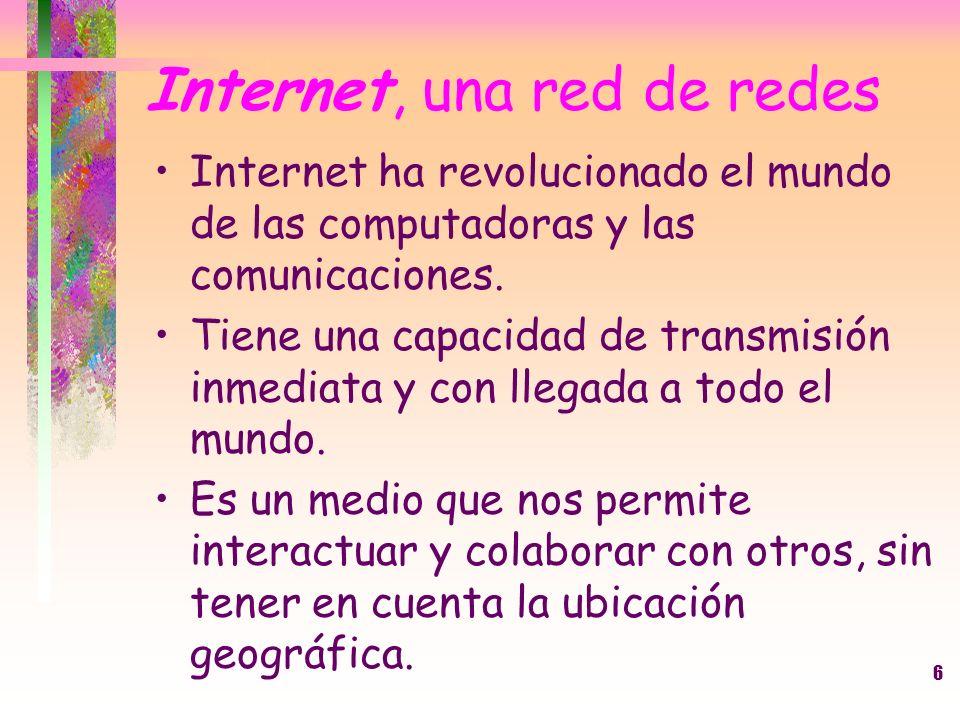 6 Internet, una red de redes Internet ha revolucionado el mundo de las computadoras y las comunicaciones. Tiene una capacidad de transmisión inmediata