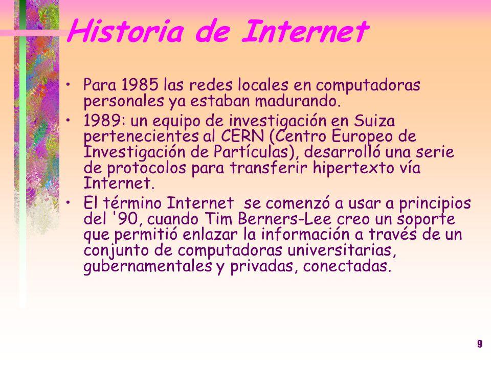 9 Historia de Internet Para 1985 las redes locales en computadoras personales ya estaban madurando. 1989: un equipo de investigación en Suiza pertenec