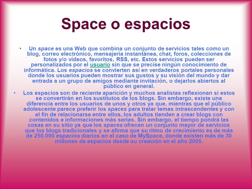 Space o espacios Un space es una Web que combina un conjunto de servicios tales como un blog, correo electrónico, mensajería instantánea, chat, foros,