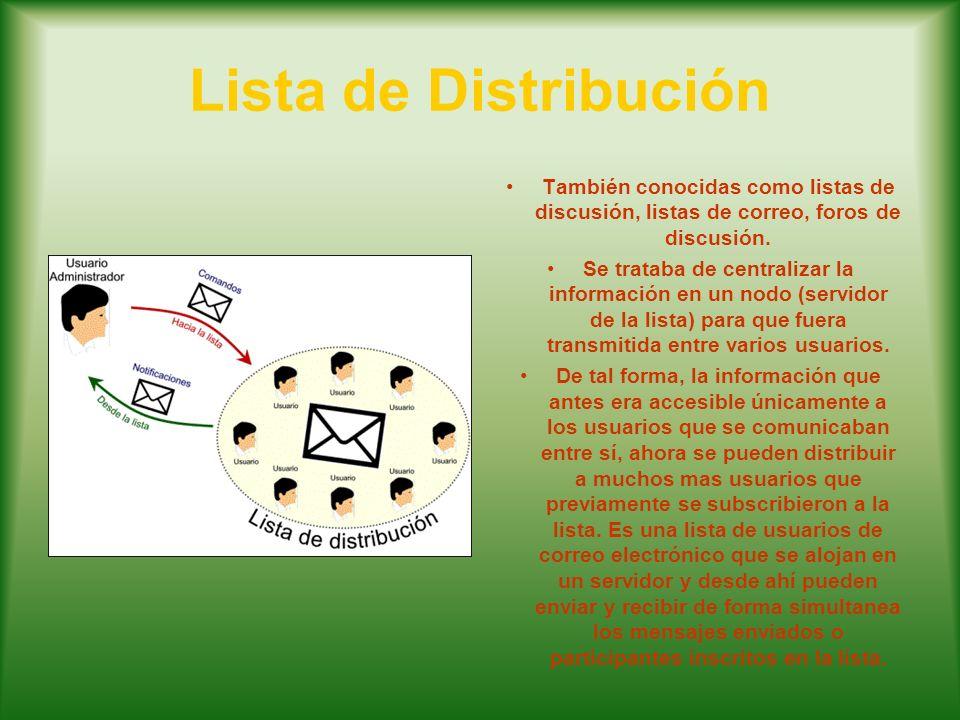 Lista de Distribución También conocidas como listas de discusión, listas de correo, foros de discusión. Se trataba de centralizar la información en un