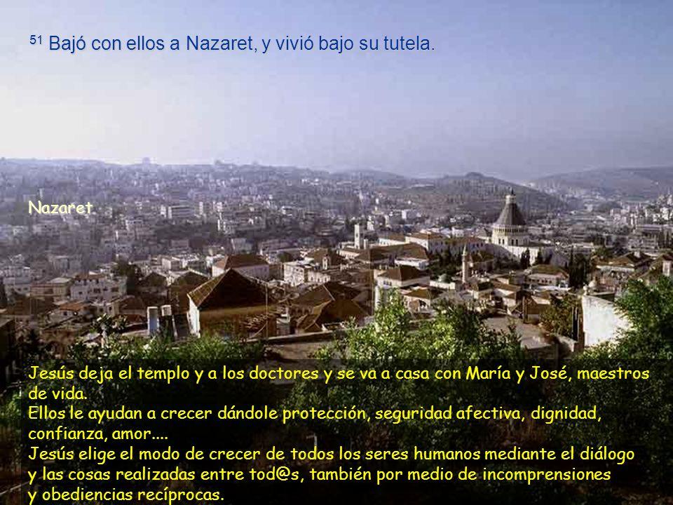 51 Bajó con ellos a Nazaret, y vivió bajo su tutela.