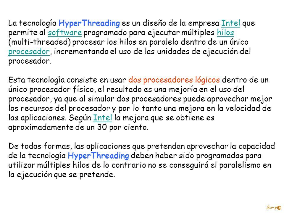 La tecnología HyperThreading es un diseño de la empresa Intel que permite al software programado para ejecutar múltiples hilosIntelsoftwarehilos (mult