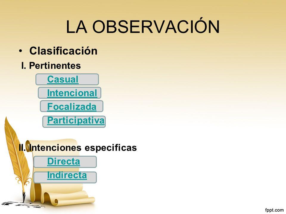 LA OBSERVACIÓN Clasificación I. Pertinentes Casual Intencional Focalizada Participativa II. Intenciones especificas Directa Indirecta