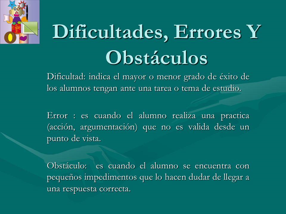 Dificultad: indica el mayor o menor grado de éxito de los alumnos tengan ante una tarea o tema de estudio. Error : es cuando el alumno realiza una pra