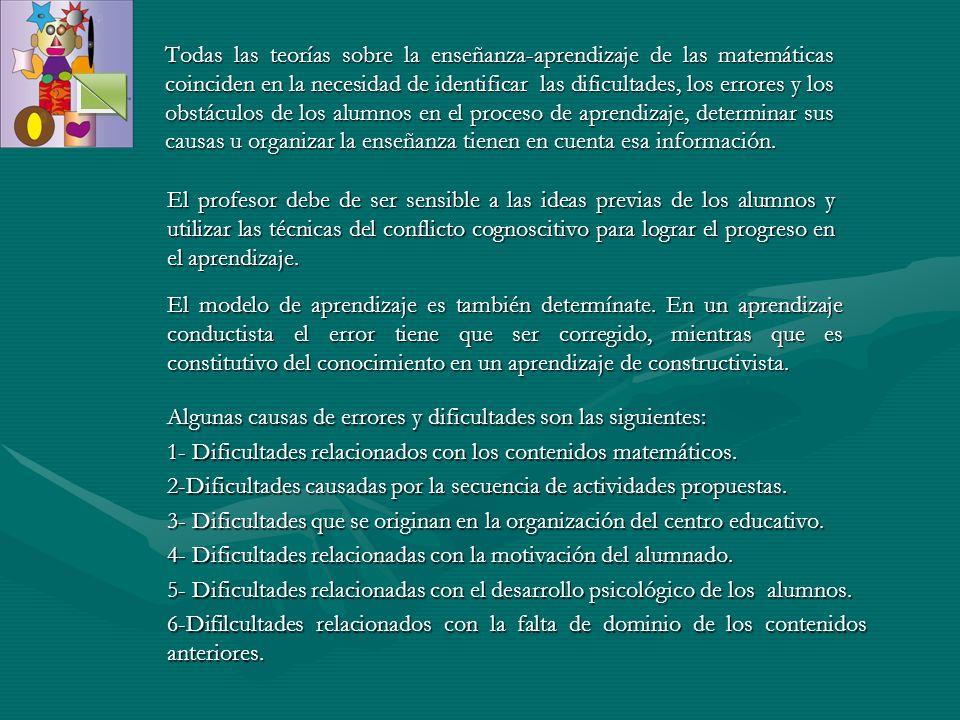 1- DIFICULTADES RELACIONADAS CON LOS CONTENIDOS MATEMATICOS.