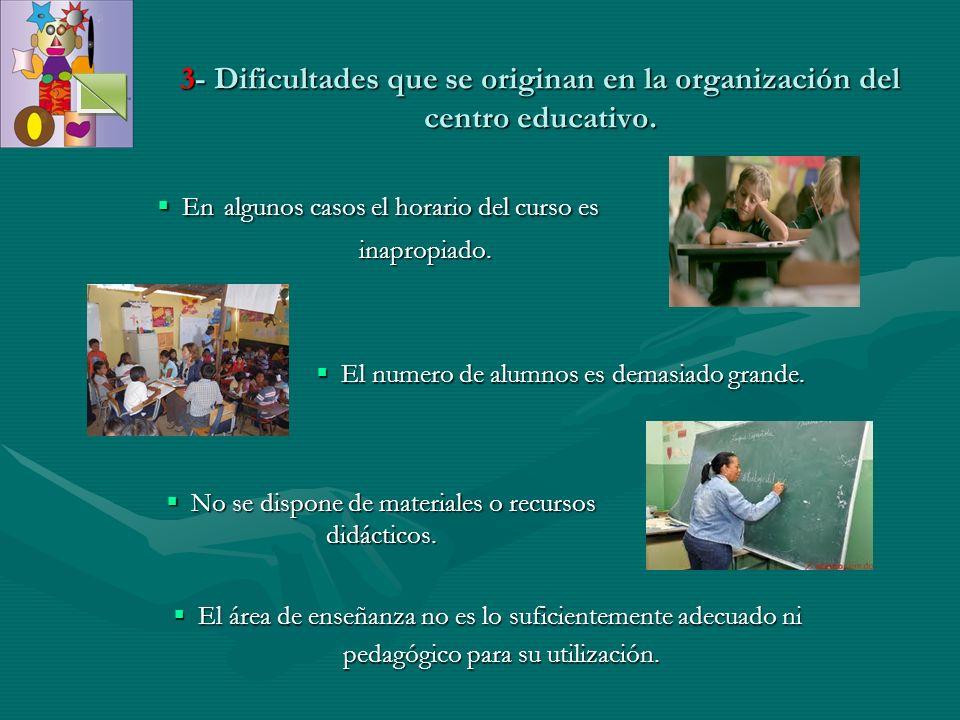3- Dificultades que se originan en la organización del centro educativo. En algunos casos el horario del curso es En algunos casos el horario del curs
