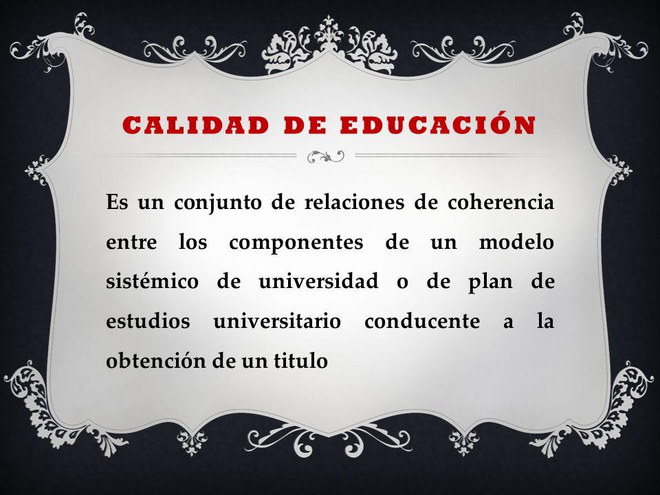 CALIDAD DE EDUCACIÓN Es un conjunto de relaciones de coherencia entre los componentes de un modelo sistémico de universidad o de plan de estudios univ
