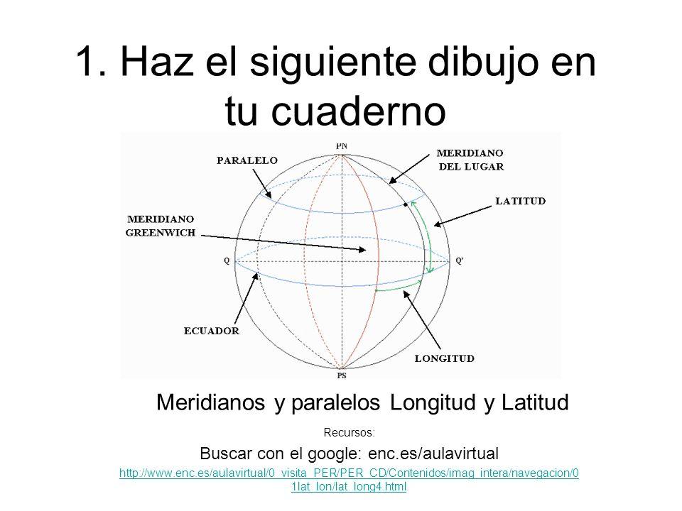 1. Haz el siguiente dibujo en tu cuaderno Meridianos y paralelos Longitud y Latitud Recursos: Buscar con el google: enc.es/aulavirtual http://www.enc.