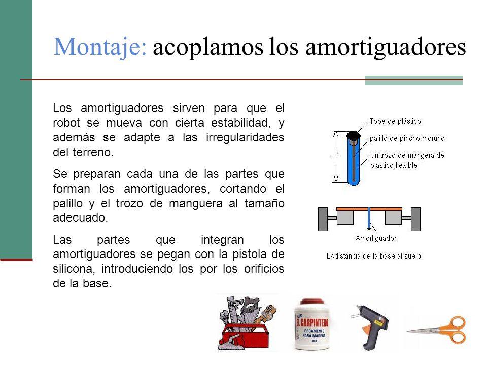 Montaje: acoplamos los amortiguadores Los amortiguadores sirven para que el robot se mueva con cierta estabilidad, y además se adapte a las irregulari