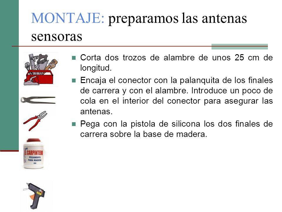 MONTAJE: preparamos las antenas sensoras Corta dos trozos de alambre de unos 25 cm de longitud. Encaja el conector con la palanquita de los finales de