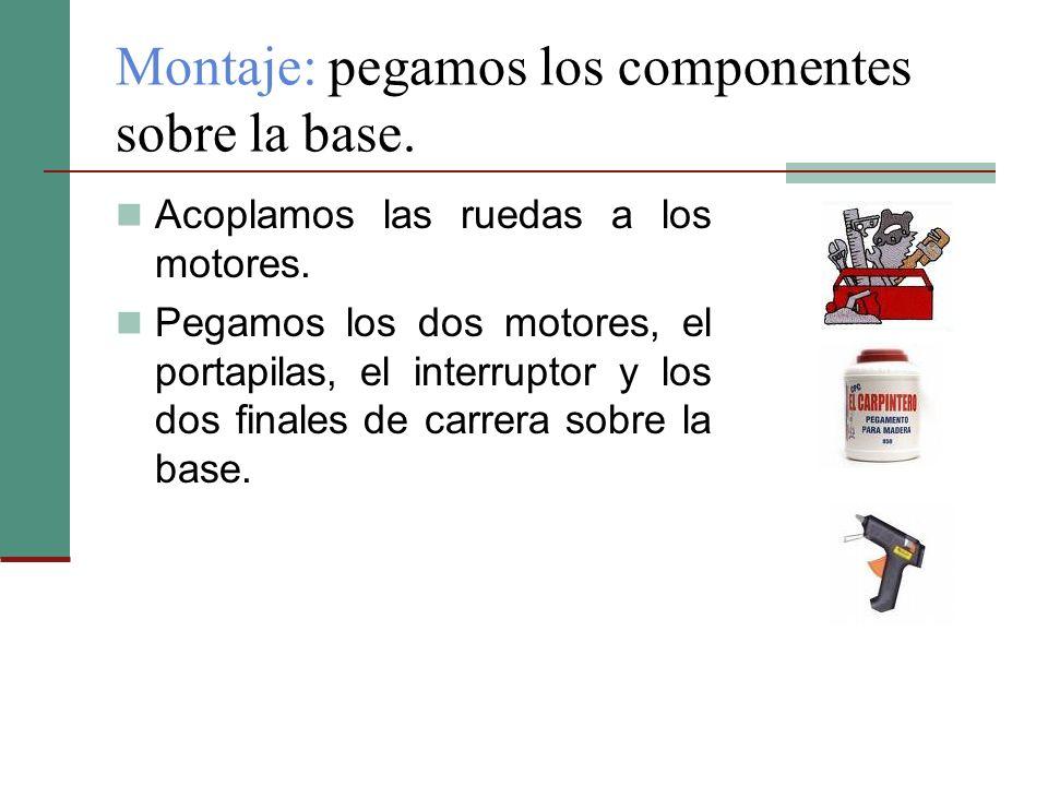 Montaje: pegamos los componentes sobre la base. Acoplamos las ruedas a los motores. Pegamos los dos motores, el portapilas, el interruptor y los dos f