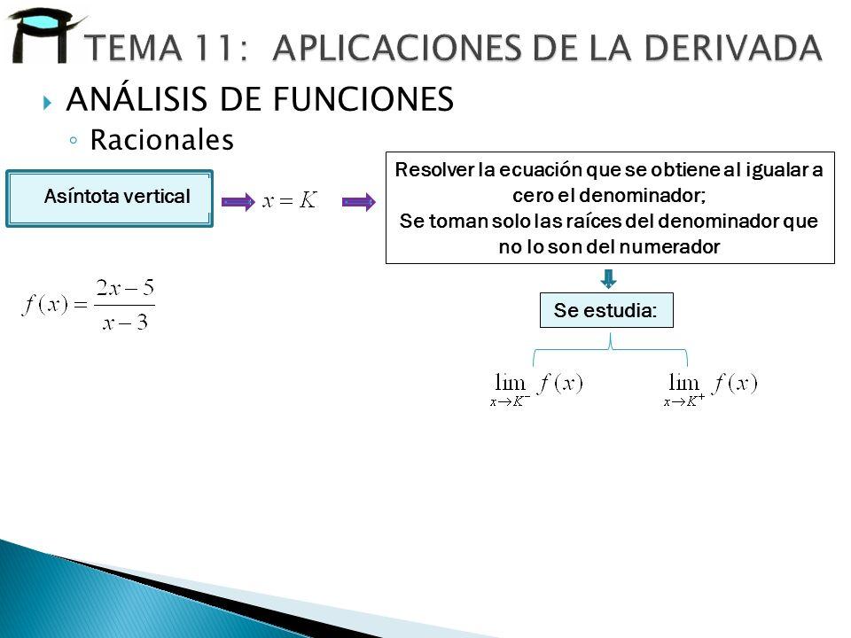 Asíntota vertical Resolver la ecuación que se obtiene al igualar a cero el denominador; Se toman solo las raíces del denominador que no lo son del num