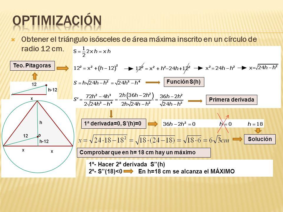 Obtener el triángulo isósceles de área máxima inscrito en un círculo de radio 12 cm. Función S(h) Primera derivada 1ª derivada=0, S(h)=0 Solución Teo.
