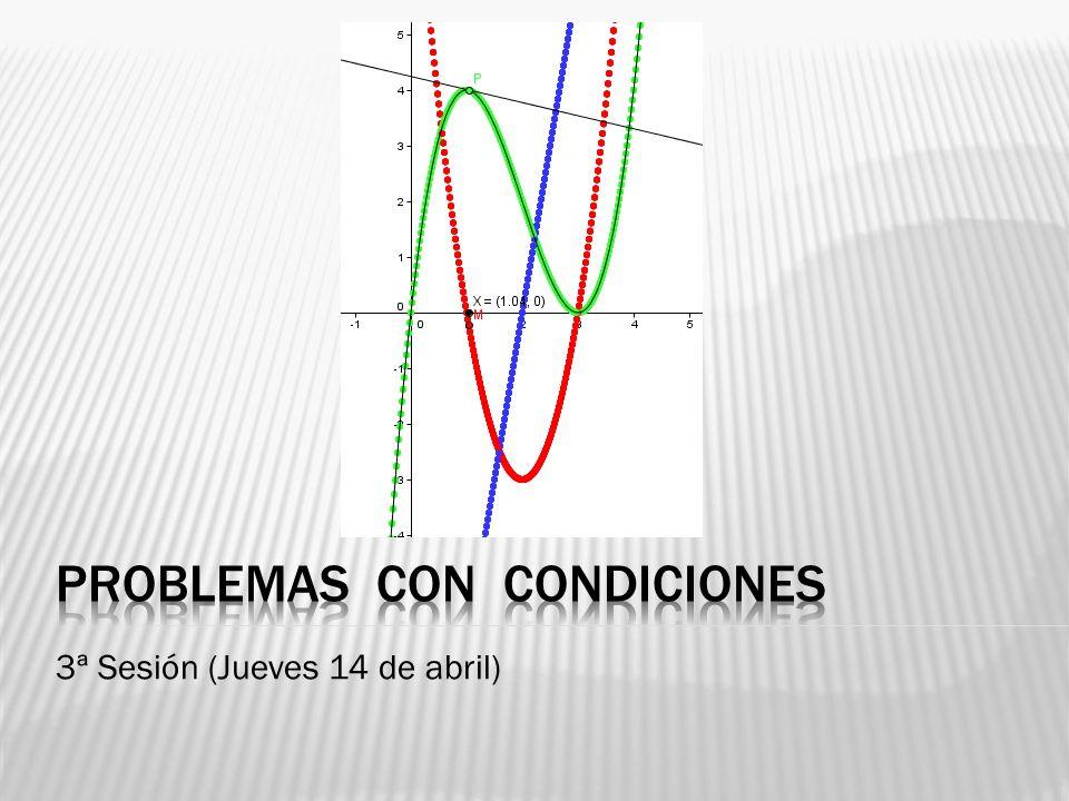 Existen dos tipos de problemas: 1.) Cálculo de una función con condiciones: Calcular los coeficientes de una función, para que esta tenga: - El máximo o el mínimo en un punto dado P(x,y) - El punto de inflexión en Q(x,y).