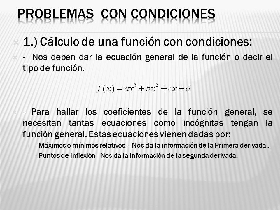 1.) Cálculo de una función con condiciones: - Nos deben dar la ecuación general de la función o decir el tipo de función. - Para hallar los coeficient