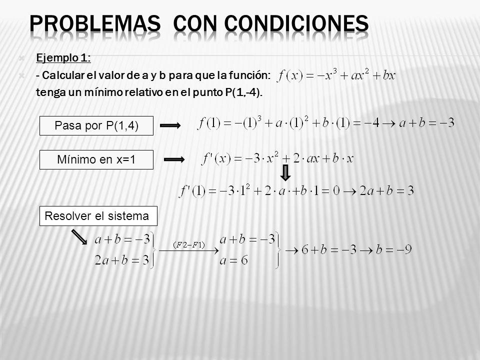 Ejemplo 1: - Calcular el valor de a y b para que la función: tenga un mínimo relativo en el punto P(1,-4). Pasa por P(1,4) Mínimo en x=1 Resolver el s