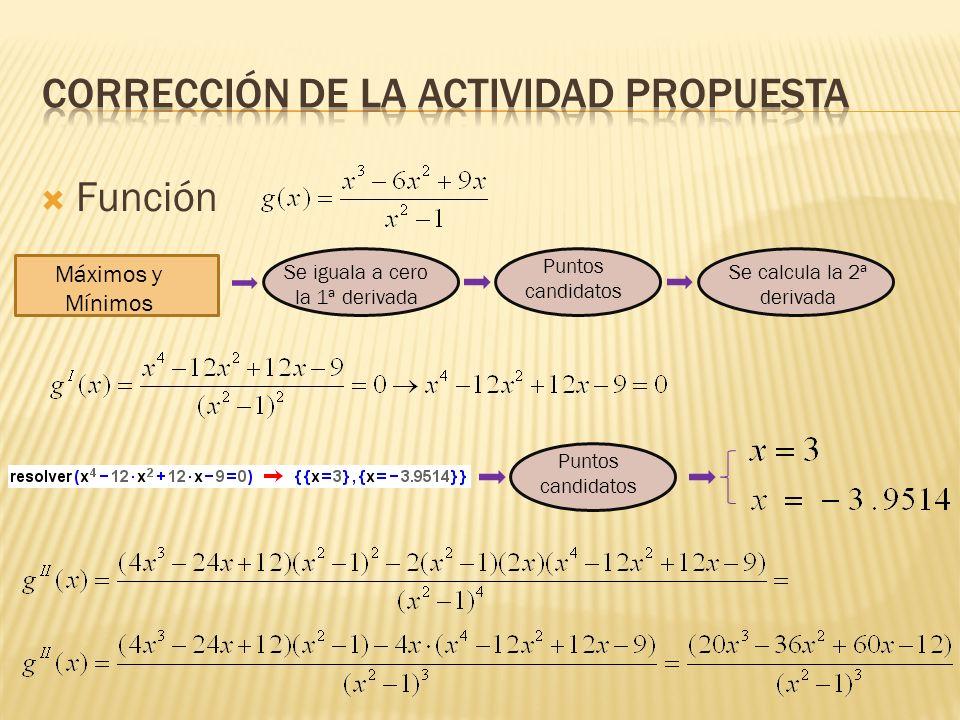 Función Máximos y Mínimos Se iguala a cero la 1ª derivada Puntos candidatos Se calcula la 2ª derivada Puntos candidatos