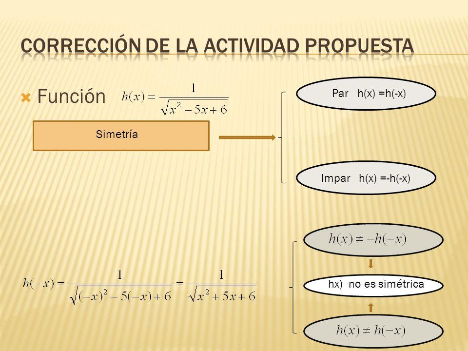 Función Simetría Par h(x) =h(-x) Impar h(x) =-h(-x) hx) no es simétrica