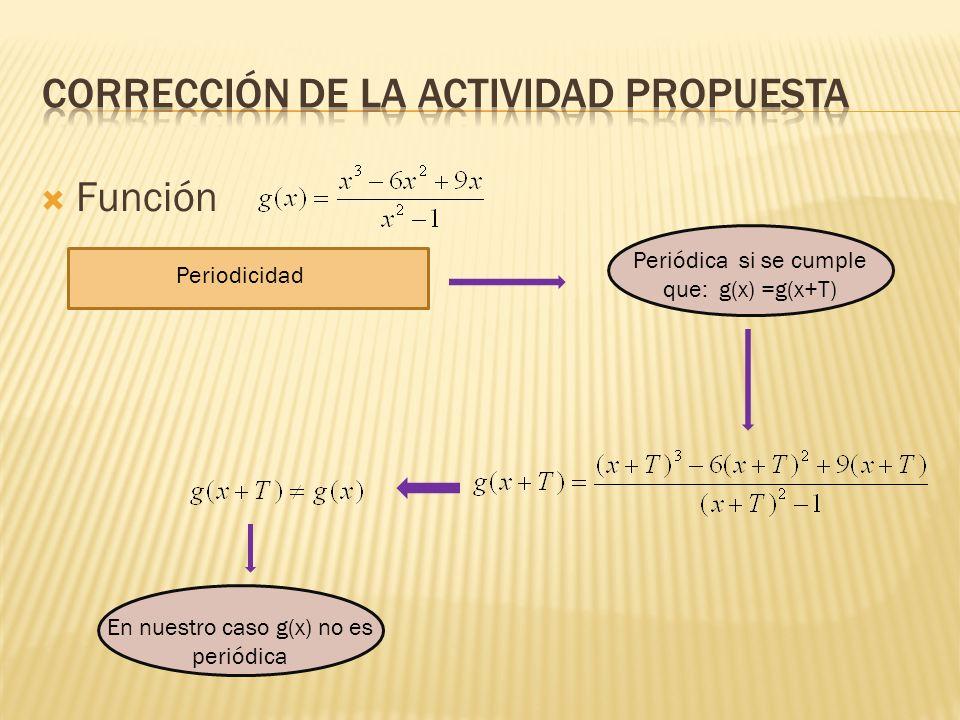 Función Periodicidad Periódica si se cumple que: g(x) =g(x+T) En nuestro caso g(x) no es periódica