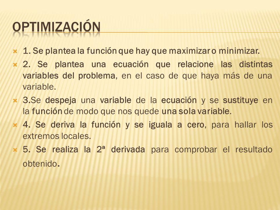 1. Se plantea la función que hay que maximizar o minimizar. 2. Se plantea una ecuación que relacione las distintas variables del problema, en el caso