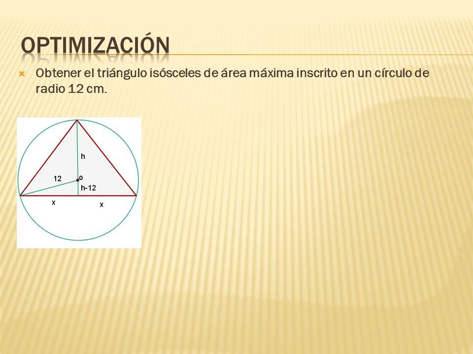 Obtener el triángulo isósceles de área máxima inscrito en un círculo de radio 12 cm.