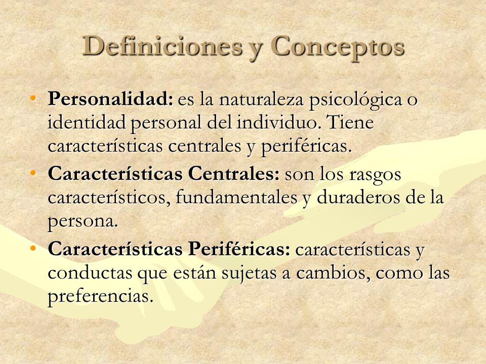 Definiciones y Conceptos Personalidad: es la naturaleza psicológica o identidad personal del individuo. Tiene características centrales y periféricas.