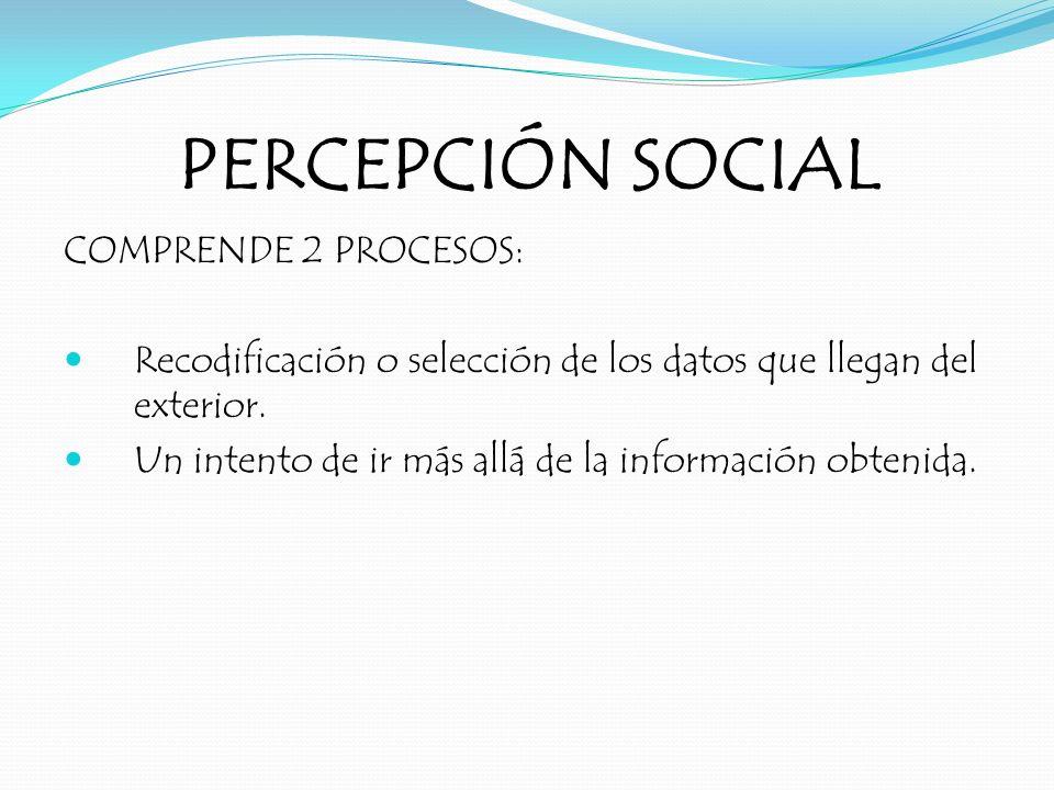 PERCEPCIÓN SOCIAL COMPRENDE 2 PROCESOS: Recodificación o selección de los datos que llegan del exterior. Un intento de ir más allá de la información o