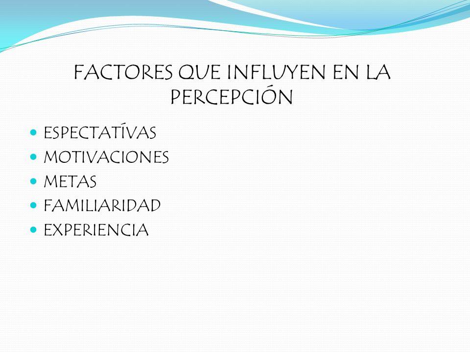FACTORES QUE INFLUYEN EN LA PERCEPCIÓN ESPECTATÍVAS MOTIVACIONES METAS FAMILIARIDAD EXPERIENCIA