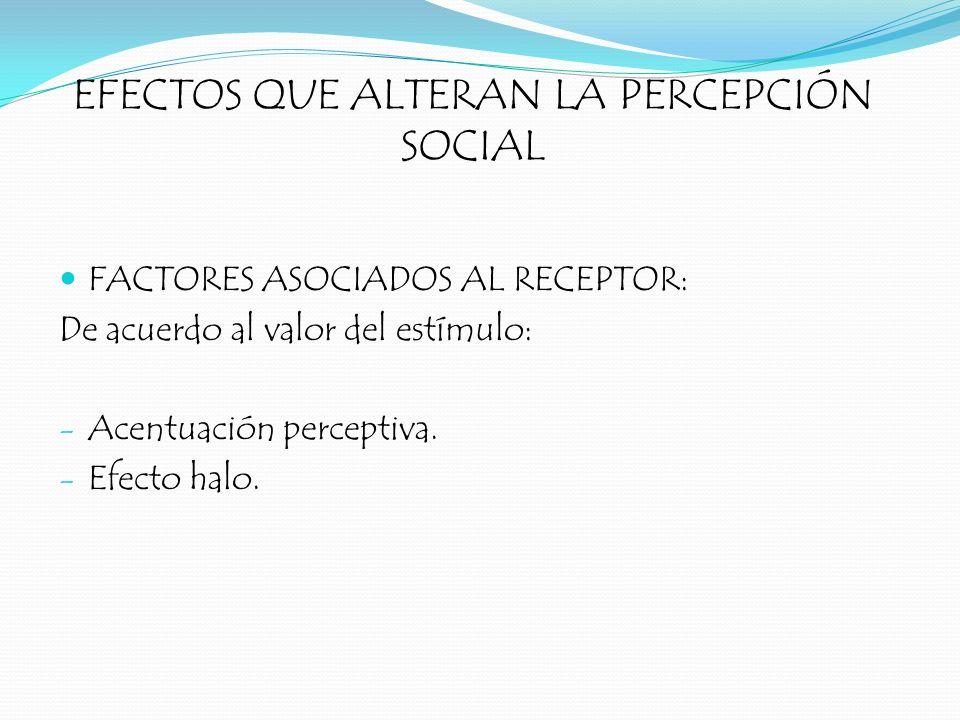 EFECTOS QUE ALTERAN LA PERCEPCIÓN SOCIAL FACTORES ASOCIADOS AL RECEPTOR: De acuerdo al valor del estímulo: - Acentuación perceptiva. - Efecto halo.