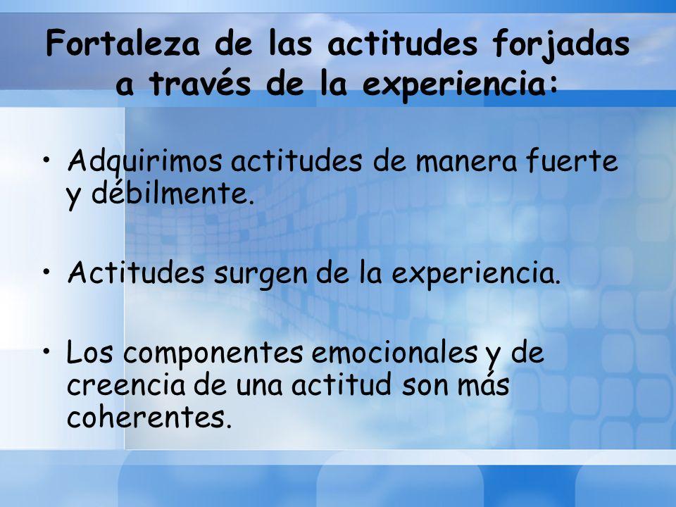 Fortaleza de las actitudes forjadas a través de la experiencia: Adquirimos actitudes de manera fuerte y débilmente. Actitudes surgen de la experiencia