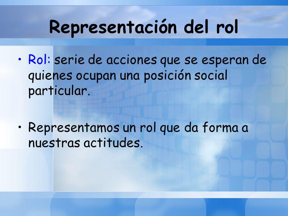 Representación del rol Rol: serie de acciones que se esperan de quienes ocupan una posición social particular. Representamos un rol que da forma a nue