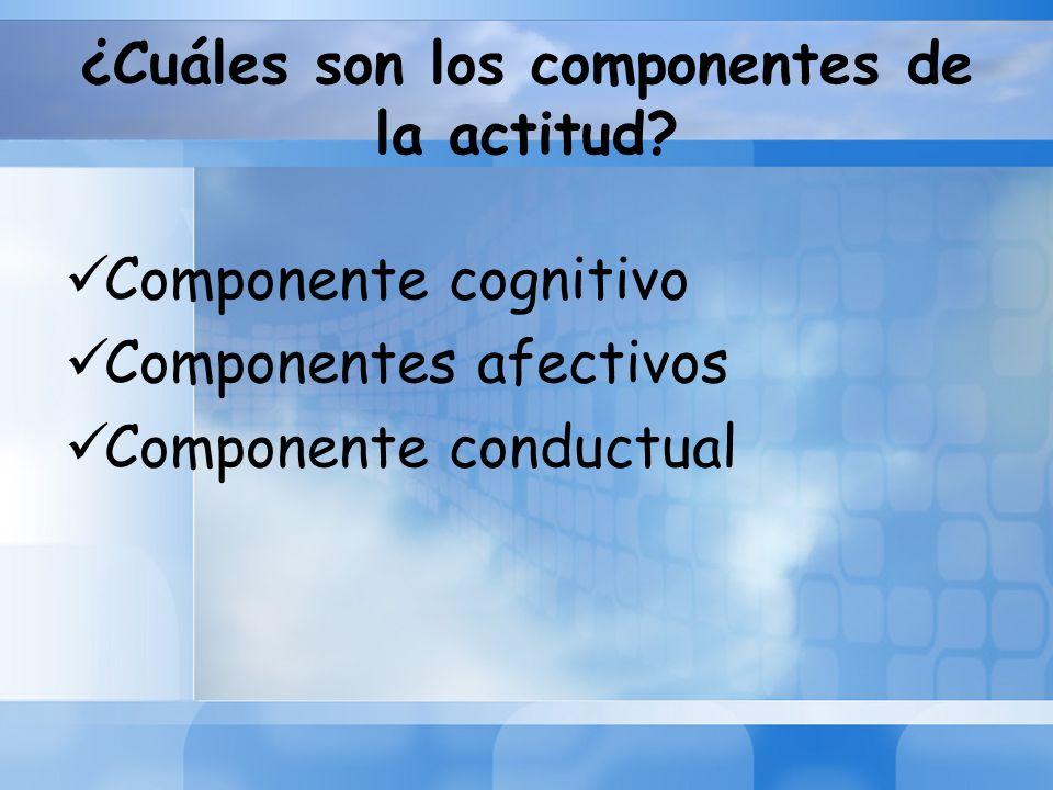 ¿Cuáles son los componentes de la actitud? Componente cognitivo Componentes afectivos Componente conductual