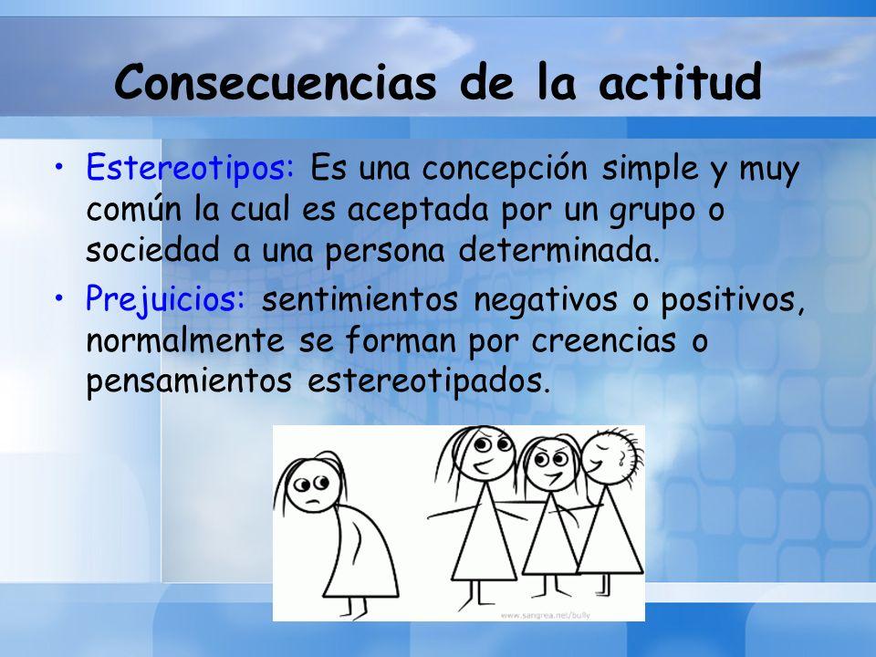 Consecuencias de la actitud Estereotipos: Es una concepción simple y muy común la cual es aceptada por un grupo o sociedad a una persona determinada.