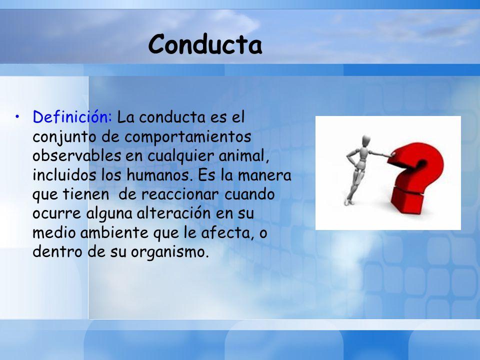 Conducta Definición: La conducta es el conjunto de comportamientos observables en cualquier animal, incluidos los humanos. Es la manera que tienen de