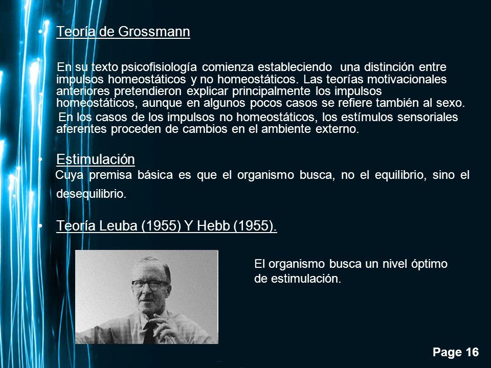 Page 16 Teoría de Grossmann En su texto psicofisiología comienza estableciendo una distinción entre impulsos homeostáticos y no homeostáticos. Las teo