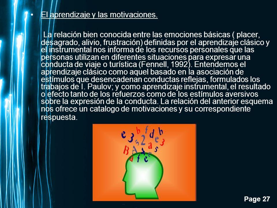 Page 27 El aprendizaje y las motivaciones. La relación bien conocida entre las emociones básicas ( placer, desagrado, alivio, frustración) definidas p