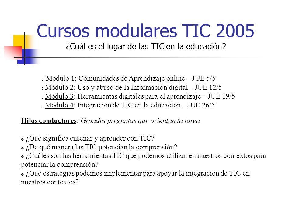 Cursos modulares TIC 2005 ¿Cuál es el lugar de las TIC en la educación.