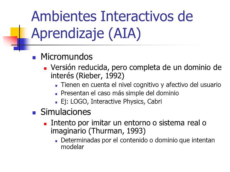 Ambientes Interactivos de Aprendizaje (AIA) Micromundos Versión reducida, pero completa de un dominio de interés (Rieber, 1992) Tienen en cuenta el nivel cognitivo y afectivo del usuario Presentan el caso más simple del dominio Ej: LOGO, Interactive Physics, Cabri Simulaciones Intento por imitar un entorno o sistema real o imaginario (Thurman, 1993) Determinadas por el contenido o dominio que intentan modelar