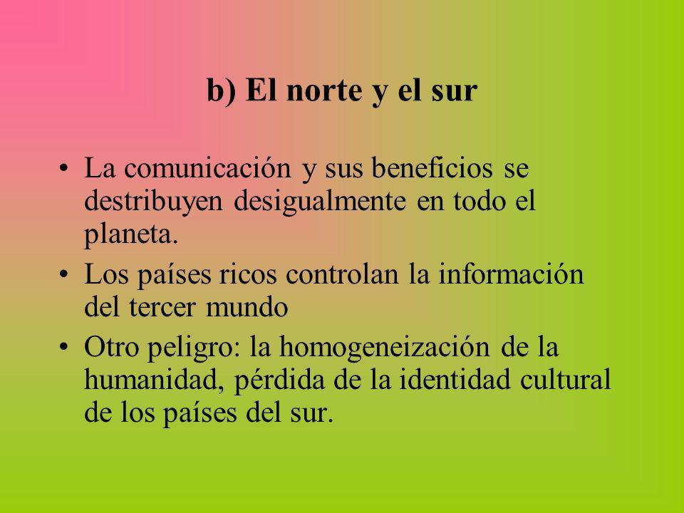 b) El norte y el sur La comunicación y sus beneficios se destribuyen desigualmente en todo el planeta. Los países ricos controlan la información del t