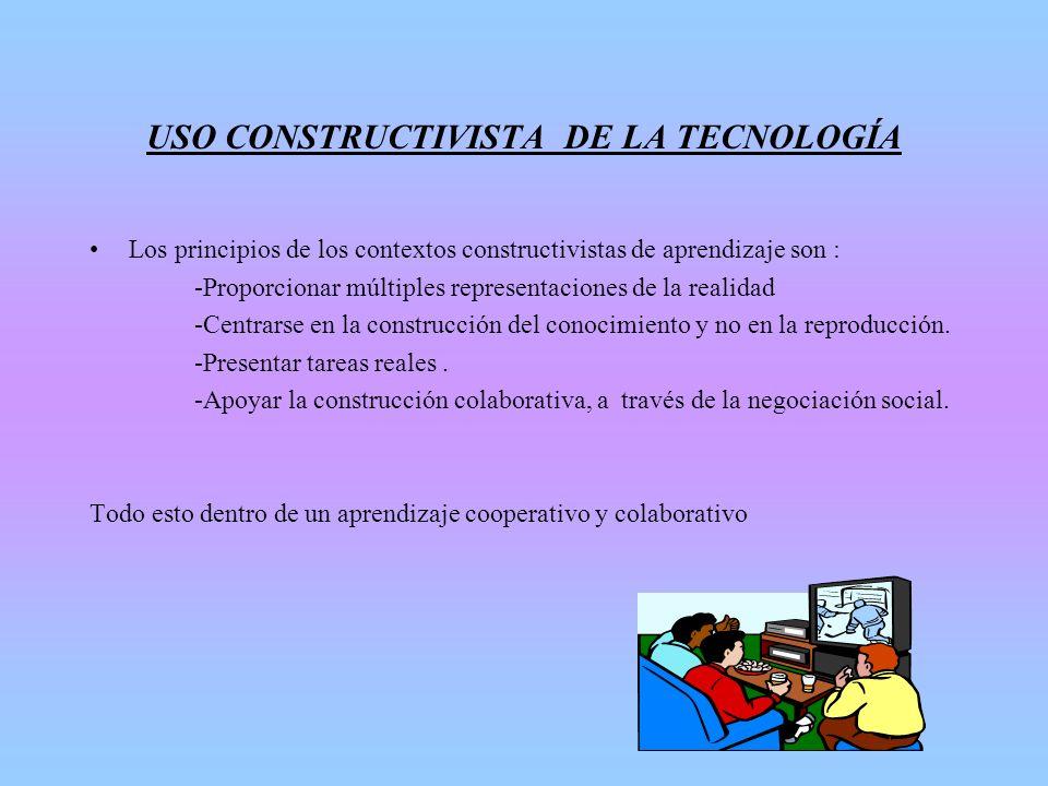 USO CONSTRUCTIVISTA DE LA TECNOLOGÍA Los principios de los contextos constructivistas de aprendizaje son : -Proporcionar múltiples representaciones de