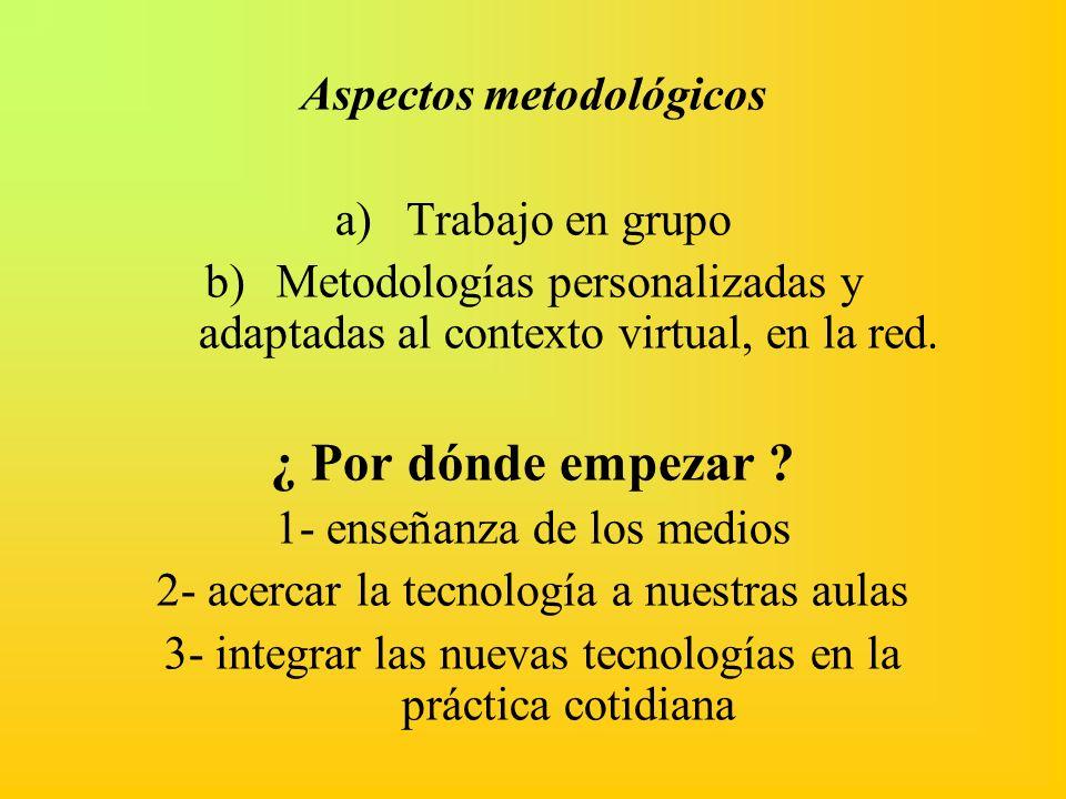 Aspectos metodológicos a)Trabajo en grupo b)Metodologías personalizadas y adaptadas al contexto virtual, en la red. ¿ Por dónde empezar ? 1- enseñanza