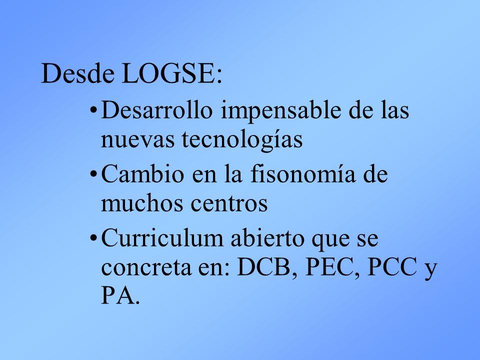 Desde LOGSE: Desarrollo impensable de las nuevas tecnologías Cambio en la fisonomía de muchos centros Curriculum abierto que se concreta en: DCB, PEC,