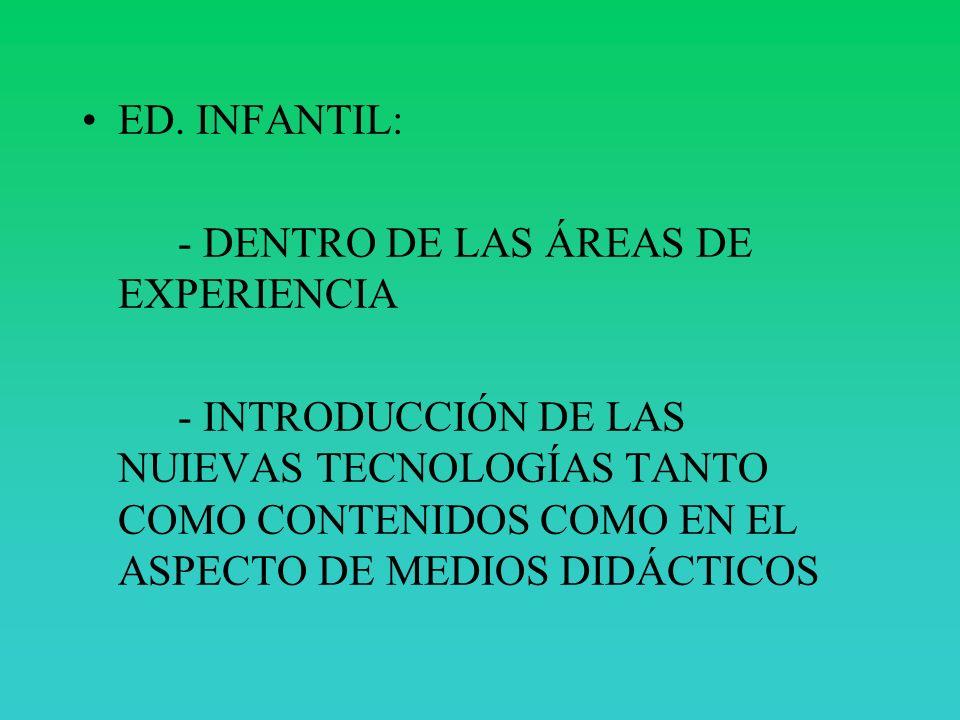 ED. INFANTIL: - DENTRO DE LAS ÁREAS DE EXPERIENCIA - INTRODUCCIÓN DE LAS NUIEVAS TECNOLOGÍAS TANTO COMO CONTENIDOS COMO EN EL ASPECTO DE MEDIOS DIDÁCT