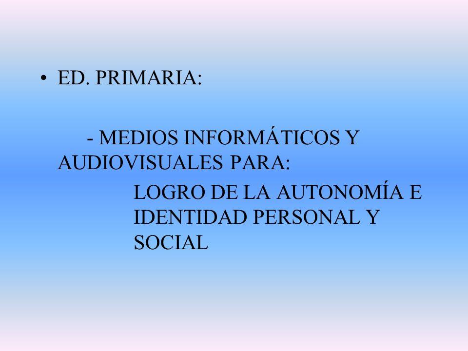 ED. PRIMARIA: - MEDIOS INFORMÁTICOS Y AUDIOVISUALES PARA: LOGRO DE LA AUTONOMÍA E IDENTIDAD PERSONAL Y SOCIAL