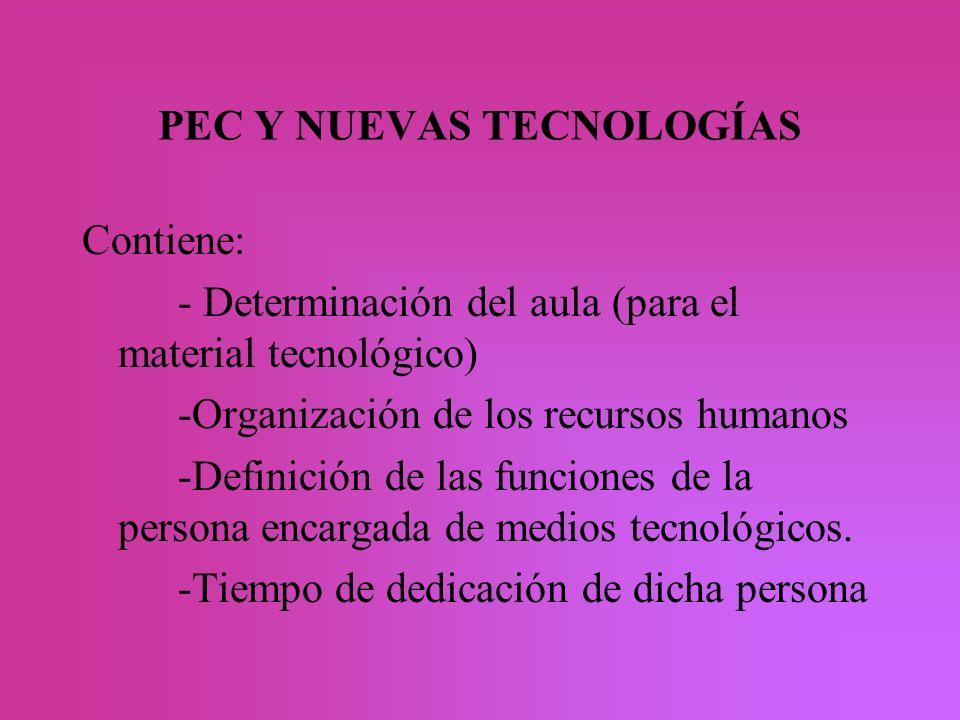 PEC Y NUEVAS TECNOLOGÍAS Contiene: - Determinación del aula (para el material tecnológico) -Organización de los recursos humanos -Definición de las fu