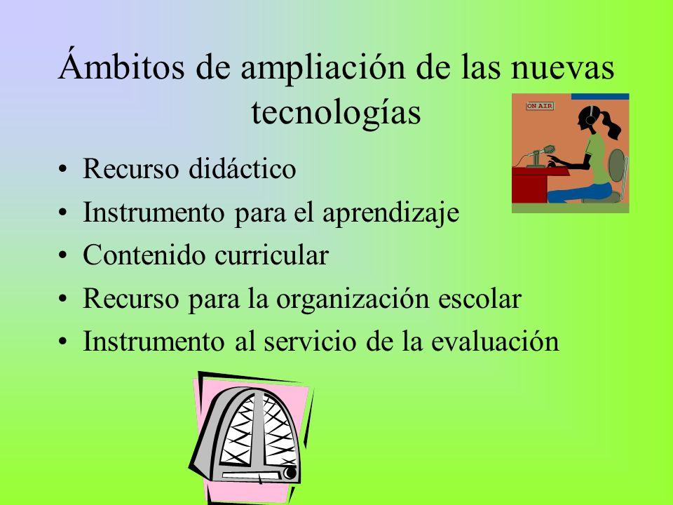 Ámbitos de ampliación de las nuevas tecnologías Recurso didáctico Instrumento para el aprendizaje Contenido curricular Recurso para la organización es