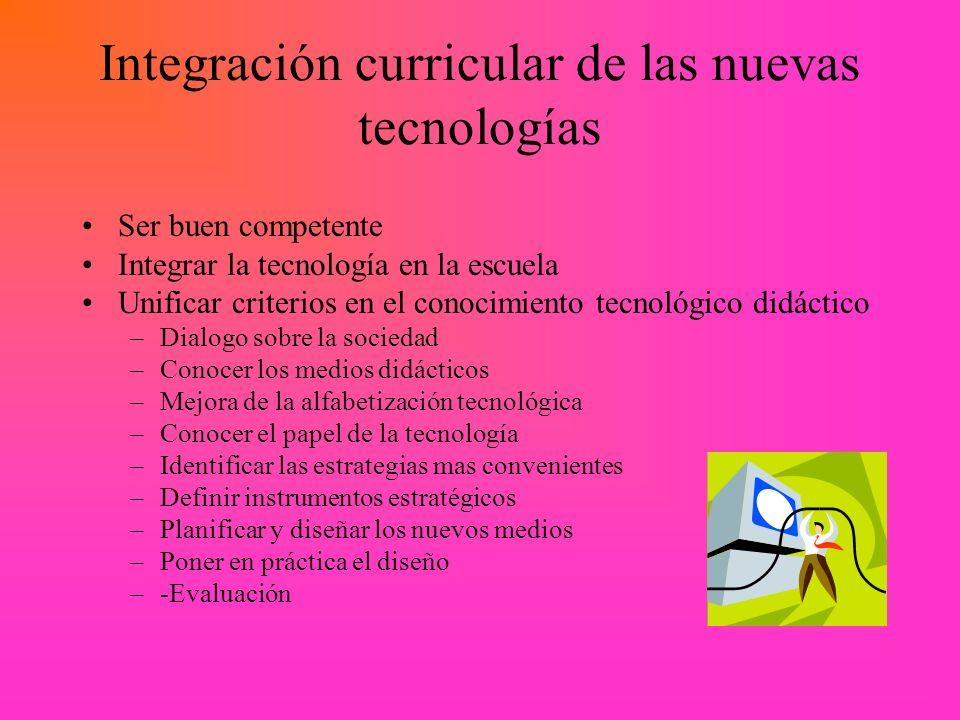 Integración curricular de las nuevas tecnologías Ser buen competente Integrar la tecnología en la escuela Unificar criterios en el conocimiento tecnol