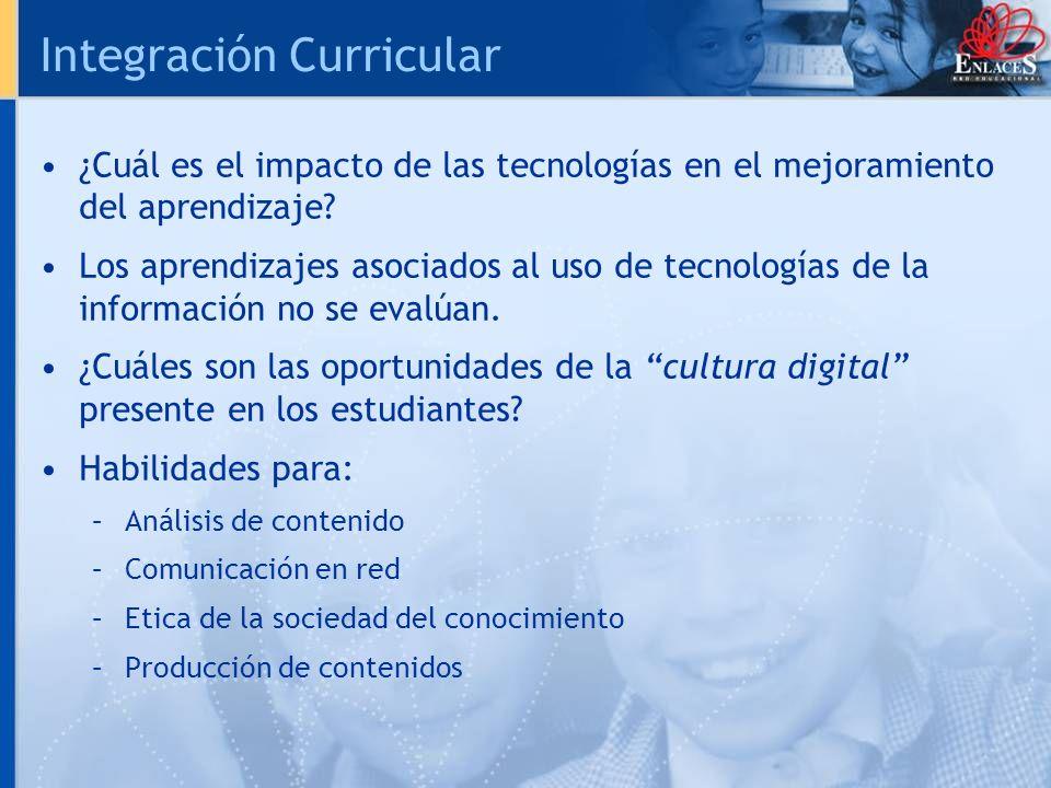 Integración Curricular ¿Cuál es el impacto de las tecnologías en el mejoramiento del aprendizaje? Los aprendizajes asociados al uso de tecnologías de